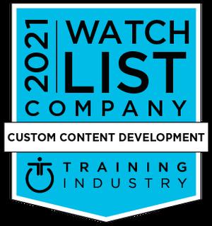 Training Industry Custom Content Development Watchlist Award 2021
