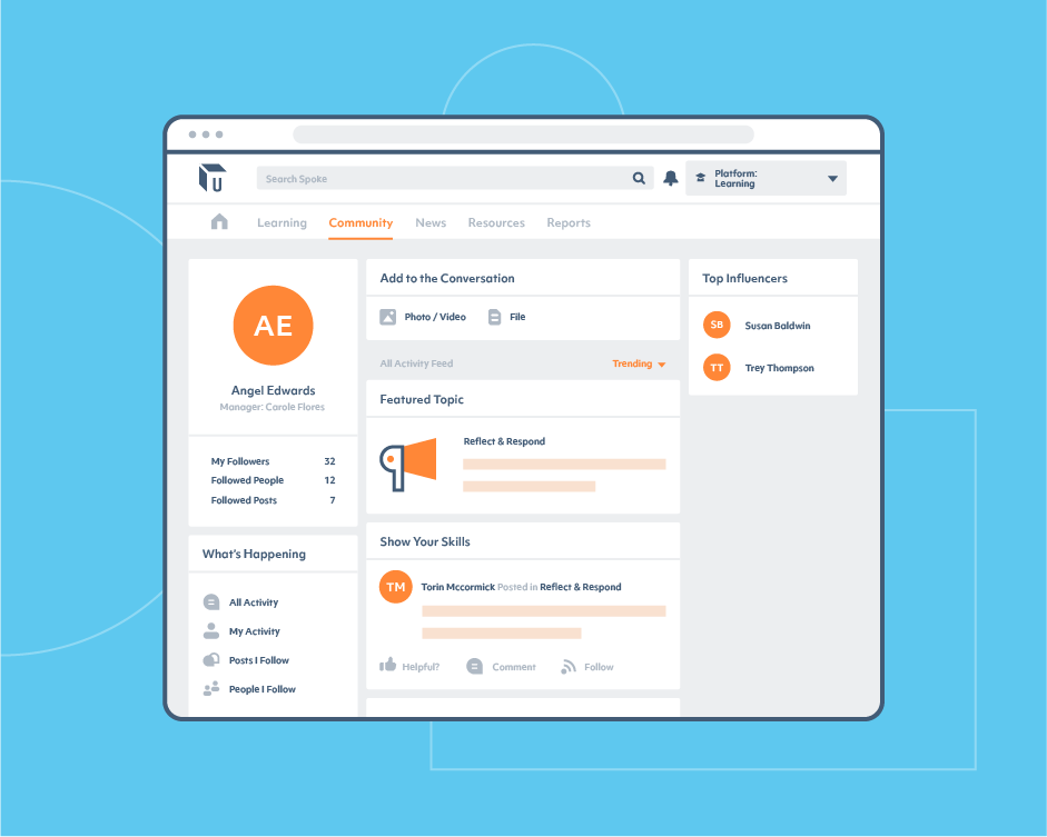 Unboxed Spoke learning platform community tab