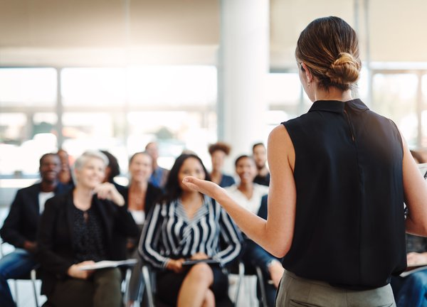Shot of a young businesswoman delivering a presentation