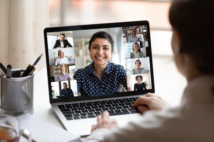 Indian woman leading a remote workplace training on diversity and inclusion