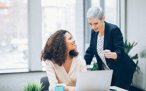 Business women working together in the office
