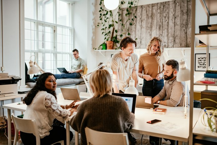 Discussion in start-up company between multi-ethnic employees