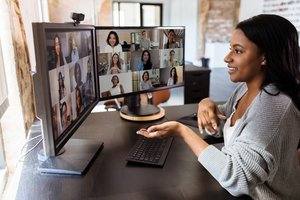 employee attending a virtual training conference
