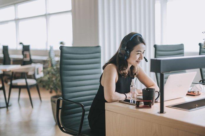 Woman leading custom online training session